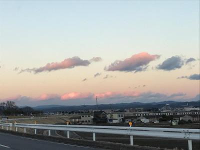 冬雲と夕陽