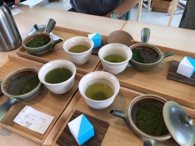 深蒸し茶3種と浅蒸し茶1種を飲み比べ